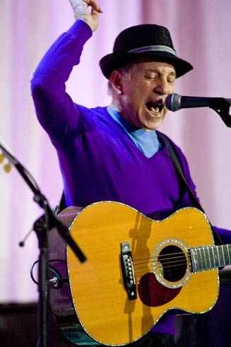 Singer Paul Simon performs at the Vancouver event.