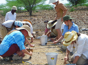 The group excavating 5 square meters at the oldowan site of Kokiselei 6.