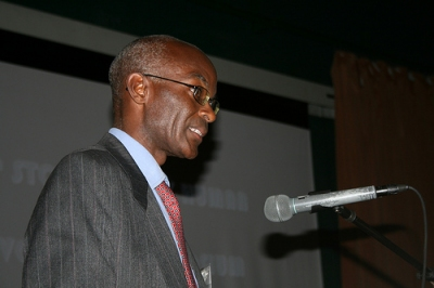 Dr. Karega Munene speaks at the Symposium at USIU. Photo credit: Lawrence Martin.
