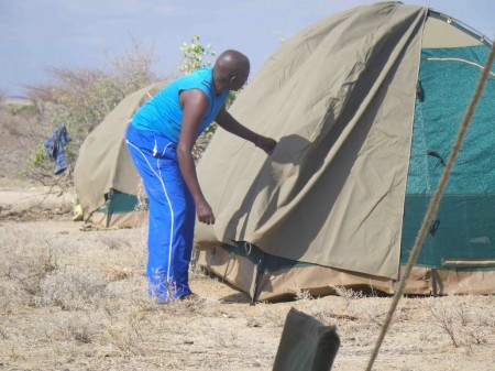 Here is a dome tent that serve as a sleeping tent for two of the field crew.