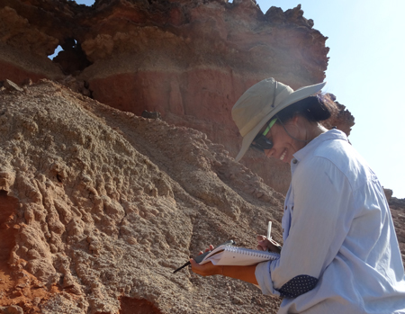 Lorraine sketches stratigraphy at Turkwel.