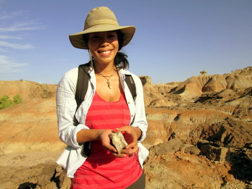 Lorraine shows off the bovid astragalus (ankle bone) she found