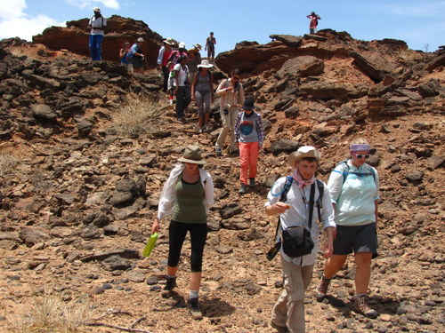 Professor Boyer leads the students through the ancient formations in search of fossils