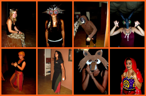 Students in their halloween costumes. From top row left to bottom right: Casey  as a cat; Luisa as a bird; Kristle as Greed; Kayla as a Satyr; Kat as a Genie; Amna as Bellatrix Lestrange; Catherine as a Fox; and Evelyn as a Seer from Dr. Who