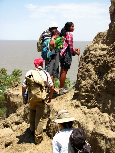 Vaishnavi, Luisa, Zach, and Nyete check an outcrop found on the Lake Shore