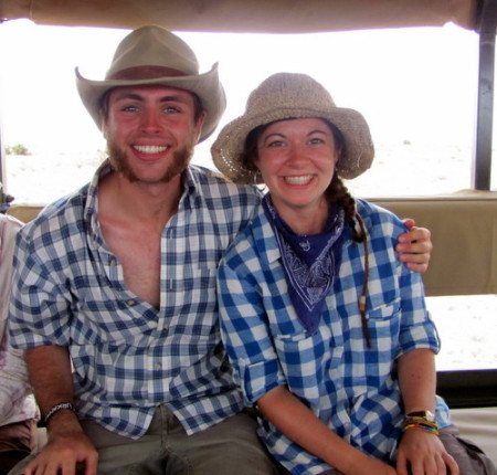 Zach and Kat in matching archaeology attire after a good day of work