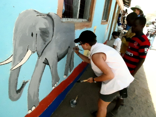 Evelyn doing the finishing touches on the Elephant