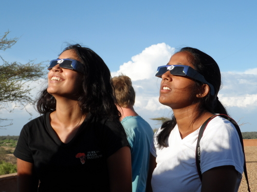 Amna and Vaishnavi showing off their really cool glasses