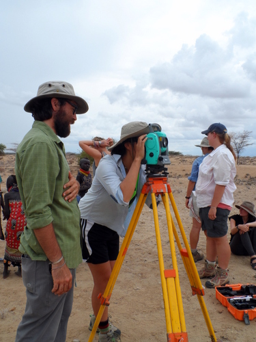 Dr. Chad Hill teaches the students how to use the Total Station