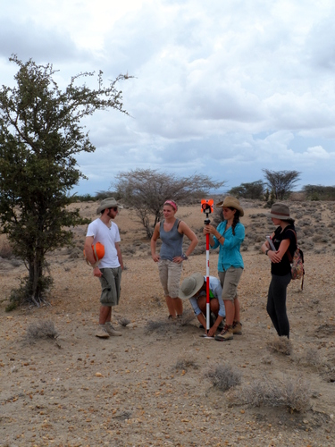 Zach, Casey, Lorraine, Luisa and Catherine take turns in holding the prism for the Total Station