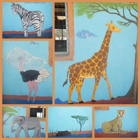 The finished animals of the mural