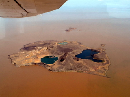 Aerial view of Central Island. Anti-clockwise from left: Flamingo Lake, Crocodile Lake, Tilapia Lake.