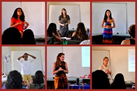 Carolina, Erica, Lauren, Abdi, Sarah and Janina give their presentations.