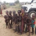 Children lined up in readiness for the polio vaccination in Nangolei village