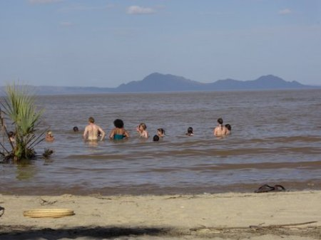 Students enjoying a refreshing dip in Lake Turkana.