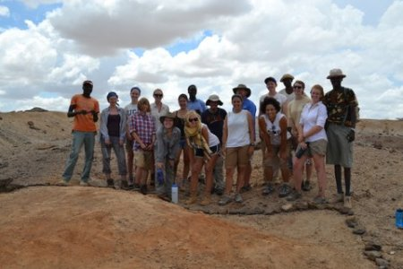 Students and staff throw a pose over our sieved section.