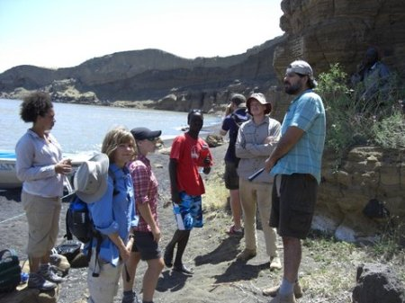 Dr. Lepre talks to the students about Central Island geology.