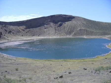 A view of Flamingo Lake from the crater's rim.