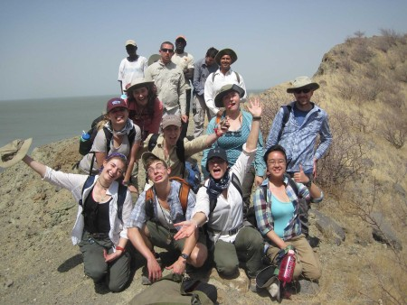 Being silly after a steep hike up to the crater rim of Flamingo Lake.