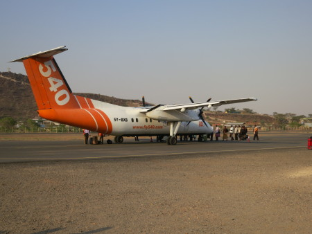 The plane to Turkana landed at Lodwar airport.