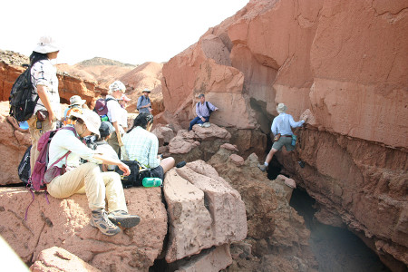 Dr. Feibel points out a tuff and a debris flow above. Car-sized rip-up clasts of the tuff can be seen in the above layer.