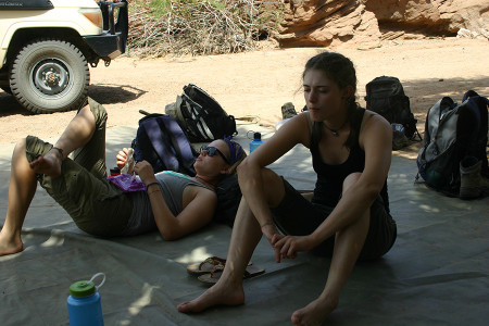 Back at camp. Post lunch nap time before our ride back to TBI.