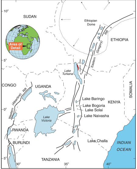 Lake Turkana is located with the eastern branch of the East African Rift System. Figure from Ashley et al., 2011