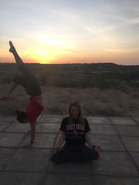 At sunset... Jayde and Rachel doing yoga?