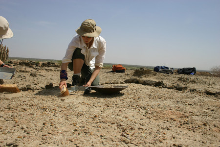 Larisa begins sweeping up all pebbles on the surface that may contain fossil fragments.