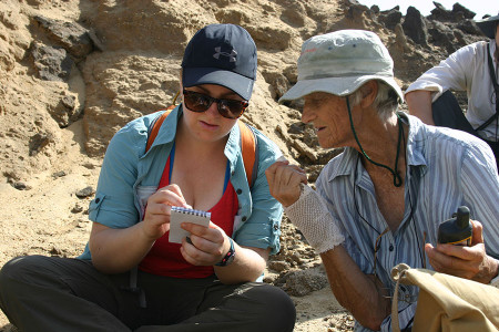 Dr. Leakey gives Page GPS coordinates to document the location where she found a fossil.