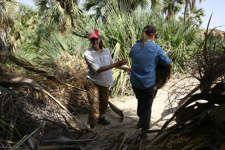 Rachel carries Tom across a thorny entrance where we had just obtained doum palm nuts.