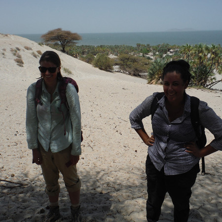 Kate and Aileen are ready to take a quick dip in the lake after a long survey day in the sun.
