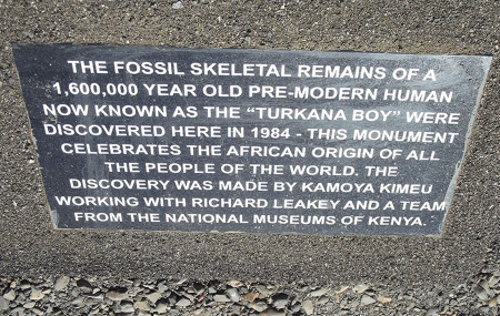 One of 3 plaques in front of the monument. The other two display the same text in Swahilli and in the local Turkana language.