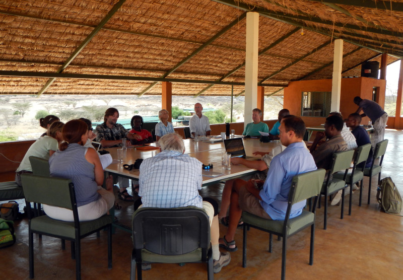 Scientists gathered at the eleventh annual Stony Brook Human Evolutionary Workshop at TBI-Turkwel. Photo credit: Oula Seitsonen.
