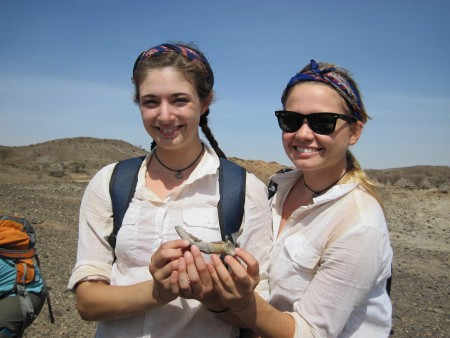 Larisa and Rachel pose with there horn core discovery
