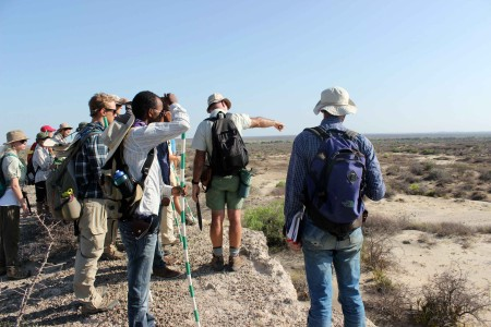 Prof. Feibel shows the students the area that they will use to create stratigraphic sections.
