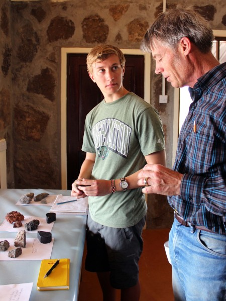 Bob Raynolds helps Rob figure out some of the different metamorphic rocks found in areas around Ileret.