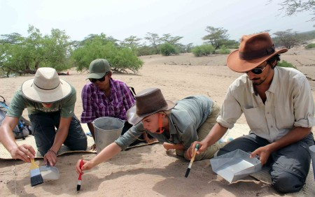 Evan, Rob, Adriadne and Kait carefully brushed off the surface of the ground after they recorded and collected any surface finds.