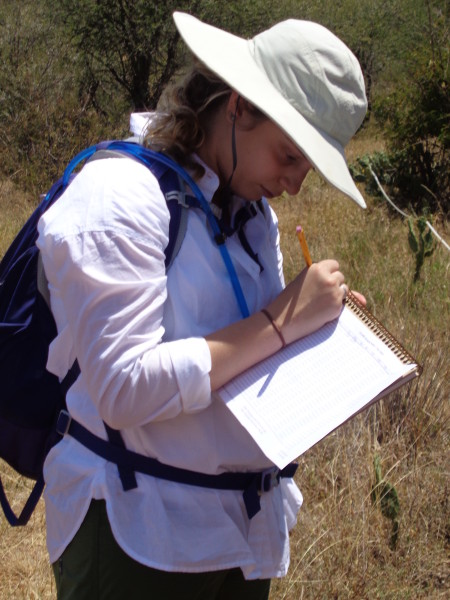 Kathryn recording data for her group