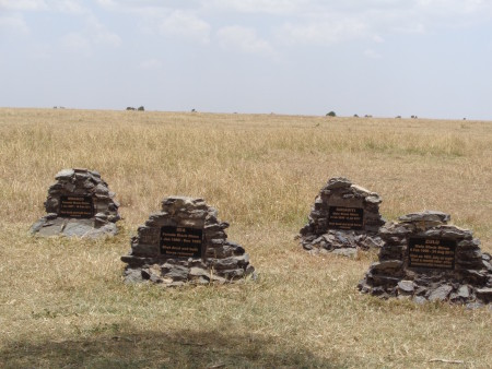 Headstones for some of the rhinos who passed from poaching.