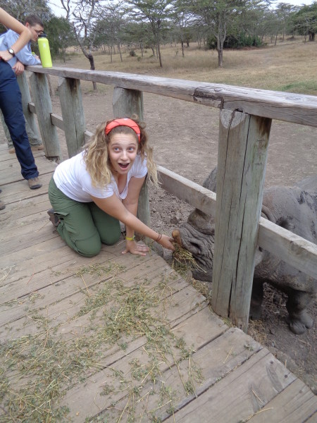 Kathryn excited about feeding Baraka!