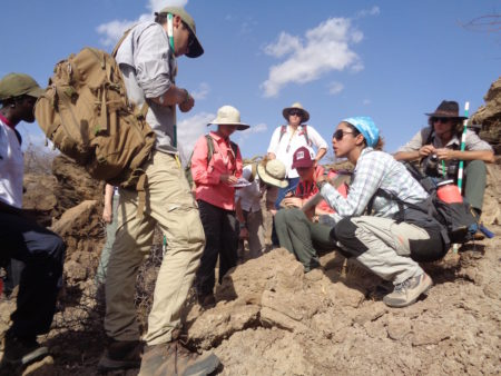 Professor Linda Martin discusses sedimentology with the students.