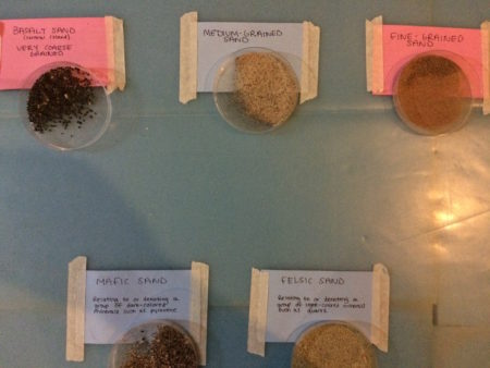 In the lab, different sediment sizes were organized accordingly to facilitate hands-on learning!
