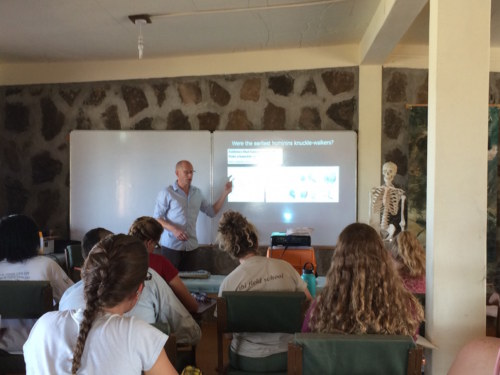 Dr. Skinner introduces the students to famous hominin fossils found in the Turkana Basin!