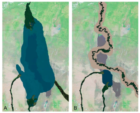 A. Paleogeographic reconstruction of the Lonyuman Lake (4.1 million years old) versus B. Reconstruction of fluvial system during Moiti Tuff times (3.97 million years)