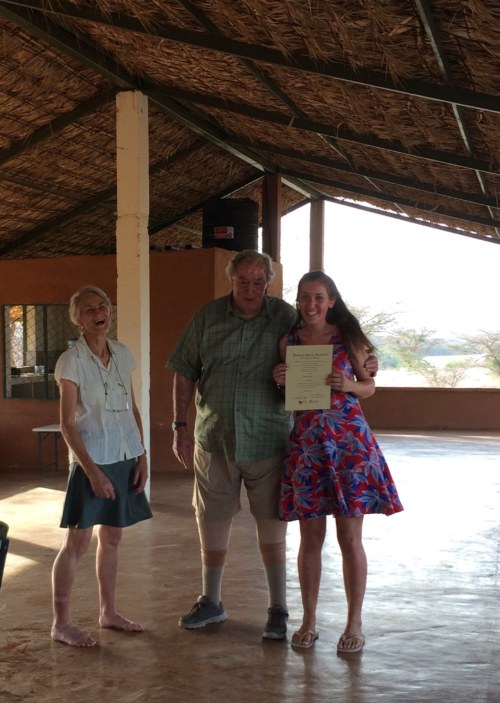Millie with Drs Meave and Richard Leakey